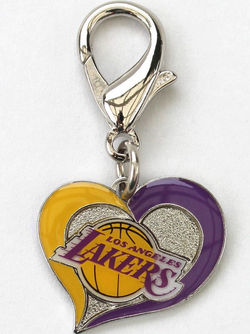 Los Angeles Lakers Swirl Heart dog collar Charm - by Diva-Dog.com