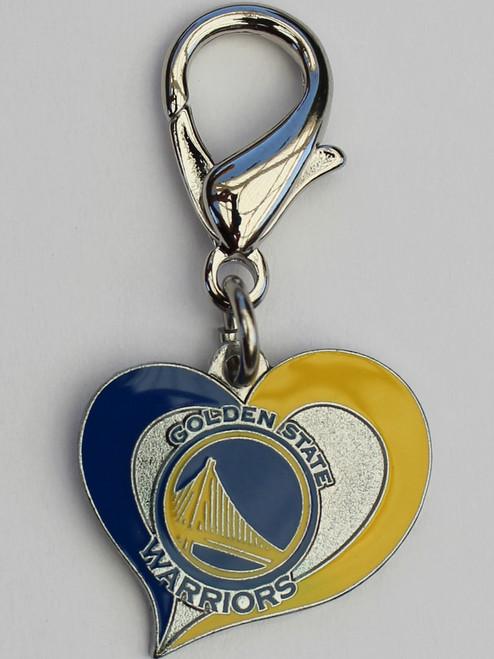 Golden State Warriors Swirl Heart dog collar Charm - by Diva-Dog.com