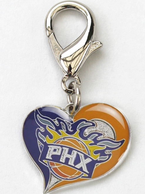 Phoenix Suns Swirl Heart dog collar Charm - by Diva-Dog.com