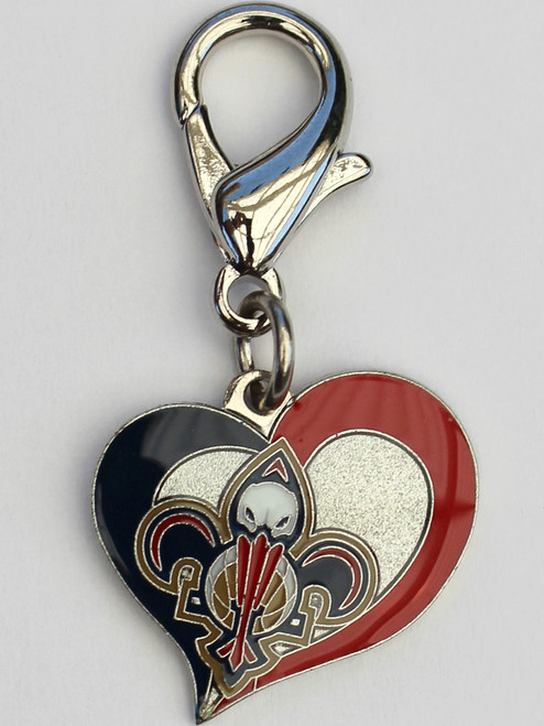 New Orleans Pelicans Swirl Heart dog collar Charm - by Diva-Dog.com