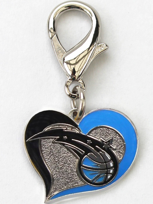 Orlando Magic Swirl Heart dog collar Charm - by Diva-Dog.com