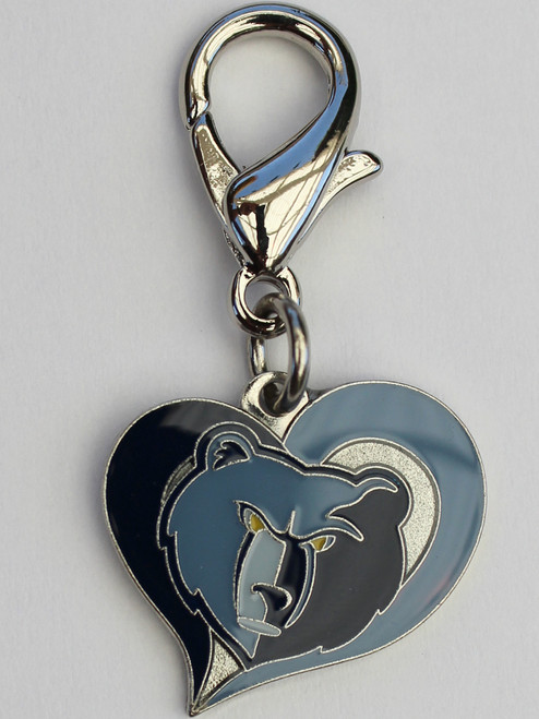 Memphis Grizzlies Swirl Heart dog collar Charm - by Diva-Dog.com