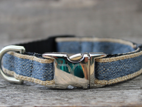 Denim dog collar - by Diva-Dog.com