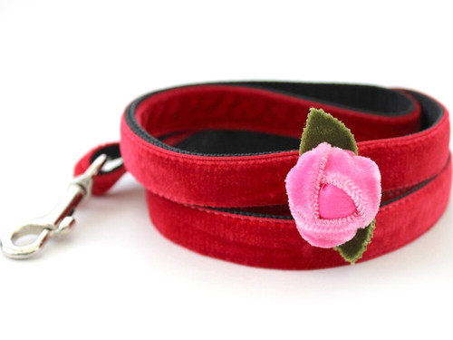 Rosebud Red dog Leash - by Diva-Dog.com