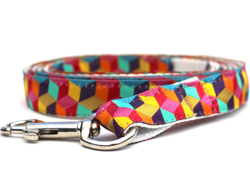 Block Party dog Leash - by Diva-Dog.com shown in the bright palette of colors.