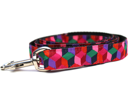 Block Party dog Leash - by Diva-Dog.com shown in the dark palette of colors.
