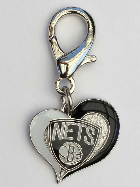 Brooklyn Nets Swirl Heart dog collar charm - by Diva-Dog.com
