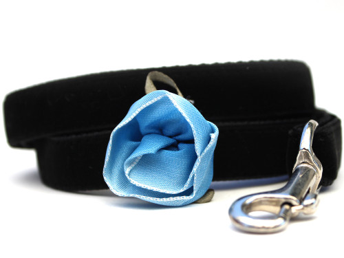 Carnation Blue Dog Leash - by Diva-Dog.com