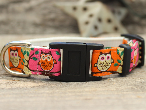 H'Owl Pink and Pumpkin cat collar by Diva-Dog.com