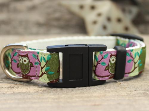 H'Owl Purple and Avocado cat collar by Diva-Dog.com