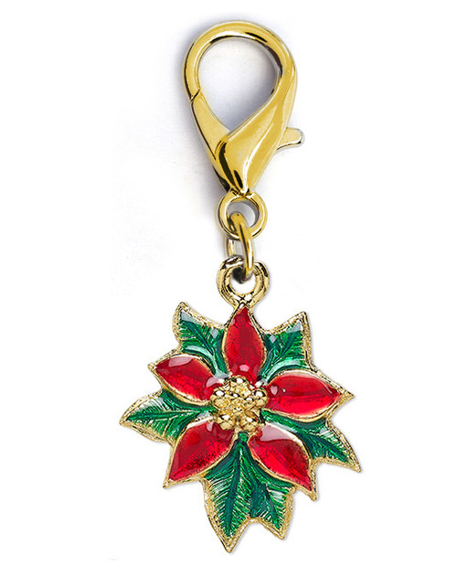 Poinsettia dog collar charm. Available in gold. By www.diva-dog.com
