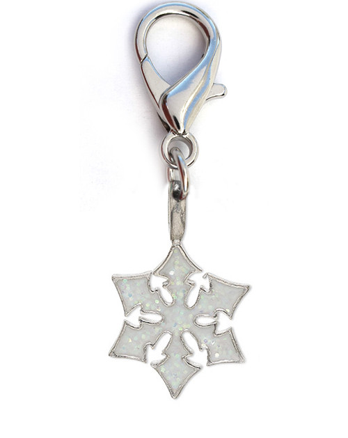 Snowflake Shimmer dog collar charm. Available in silver by www.diva-dog.com