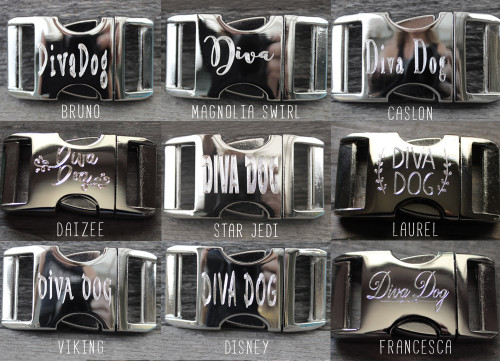 Customize your collar with personalized engraved buckles. Select from 9 fonts.