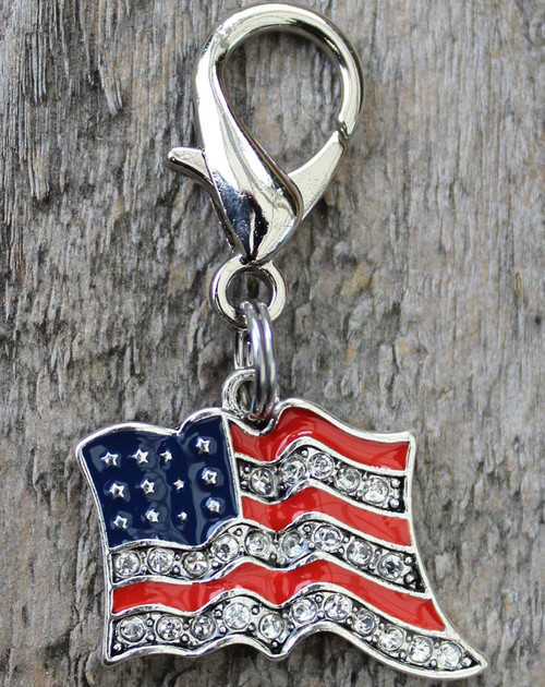 Bling-y Old Glory dog collar charm - by diva-dog.com