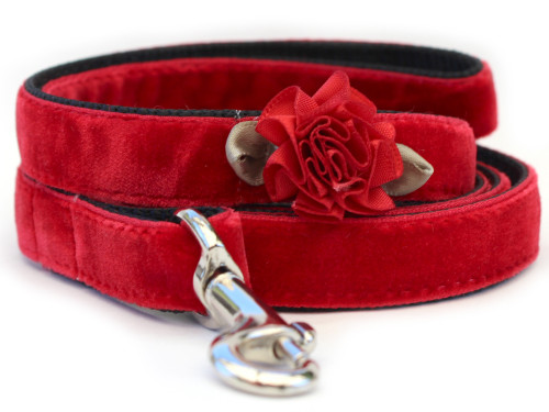 Mistletoe Red Velvet Dog Leash by www.diva-dog.com