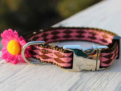 Gerber Daisy Pink Dog Collar with brown backing - by Diva-Dog.com