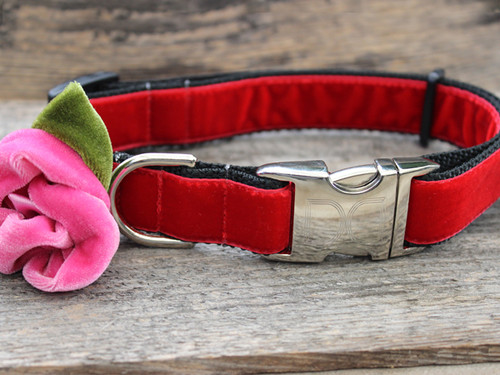 Rosie red velvet dog collar by diva-dog.com