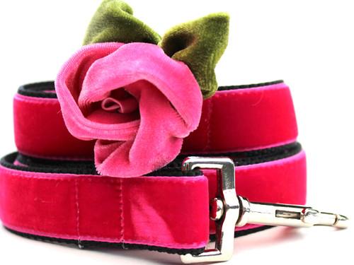 Rosie Pink Velvet Dog Leash - by Diva-Dog.com
