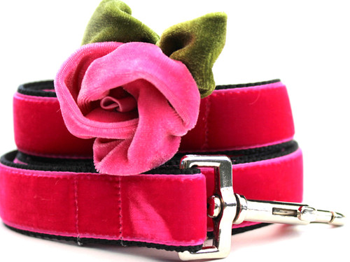 Rosie Pink Velvet Dog Leash - by Diva-Dog.com