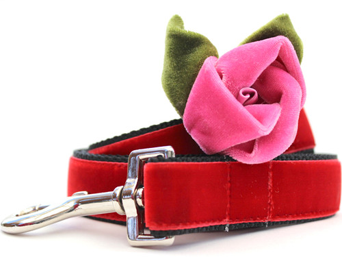 Rosie Red Velvet Dog Leash - by Diva-Dog.com