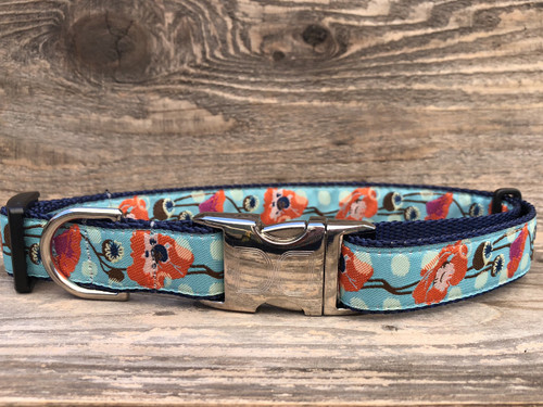 California Poppy Dog Collar - by Diva-Dog.com