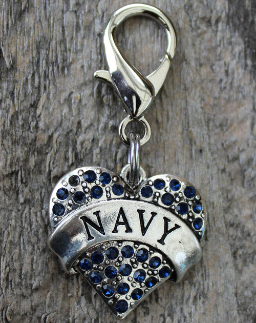 Navy dog collar charm by www.diva-dog.com