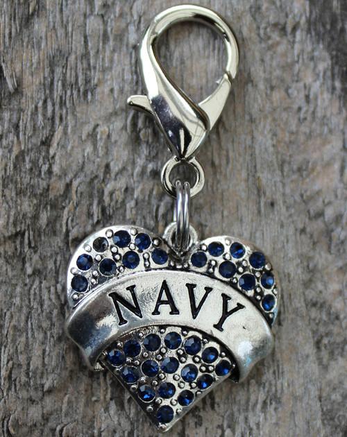 Navy dog collar charm by www.diva-dog.com