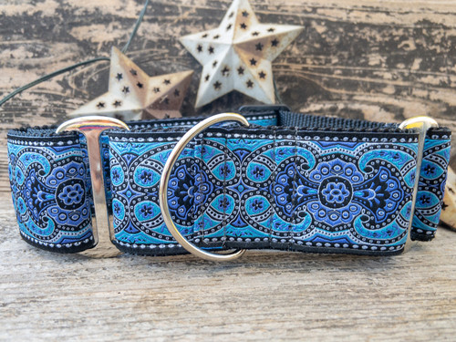 Kashmir martingale dog collar in peacock blue - by www.diva-dog.com