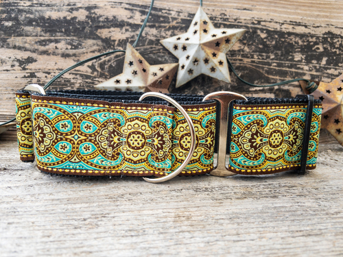 Kashmir martingale dog collar in Turkish Teal - by www.diva-dog.com