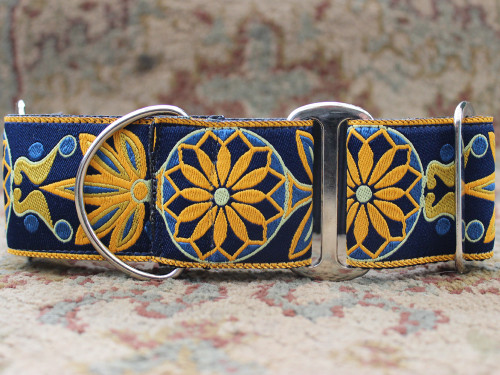 Mandala Star dog collar in Tuscan Lemon - by www.diva-dog.com