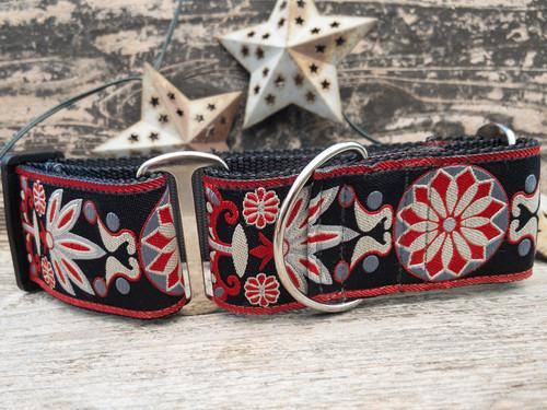 Mandala Star Carnelian Red extra wide dog collar by www.diva-dog.com