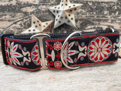 Mandala Star Carnelian Red extra wide dog collar by www.diva-dog.com
