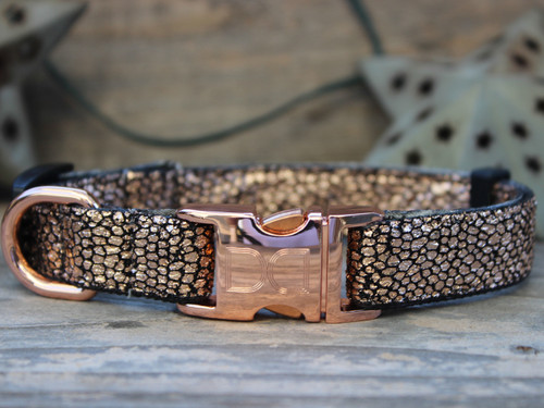 Monty Metallic rose gold dog collar by www.diva-dog.com