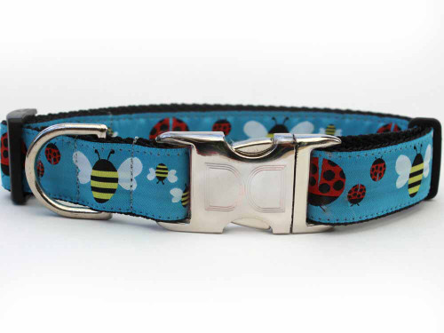 lady bugs and bumble bees dog collar - by Diva-Dog.com