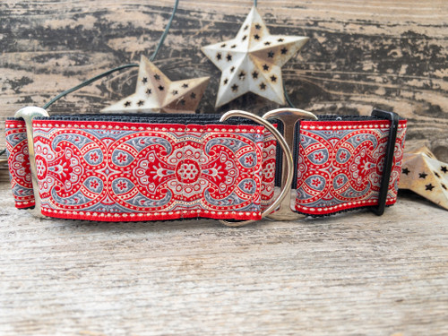 Kashmir Empress Red martingale and extra wide dog collar by www.diva-dog.com