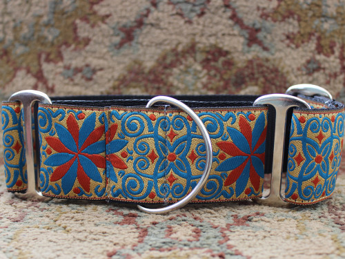 Pinwheel Gypsy Traveller martingale and extra wide dog collar by www.diva-dog.com
