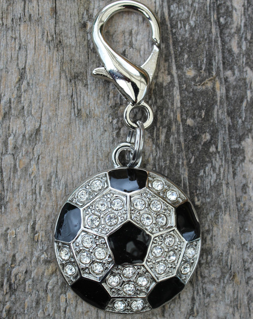 Crystal and enamel soccer ball dog collar charm by www.diva-dog.com