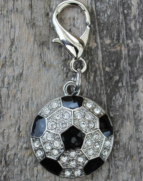 Crystal and enamel soccer ball dog collar charm by www.diva-dog.com