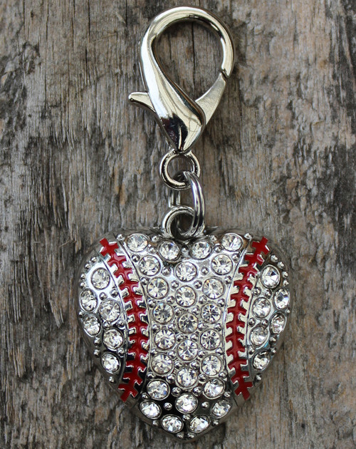 Crystal and enamel baseball dog collar charm by www.diva-dog.com