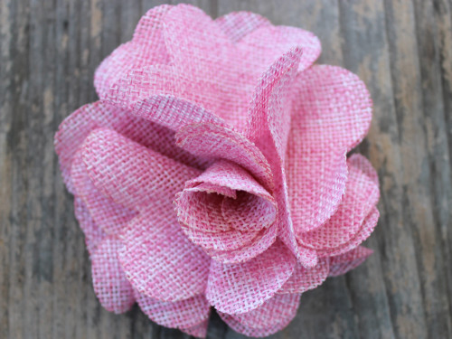 Derby Cherry Blossom Pink Linen flower for dog collars by www.diva-dog.com