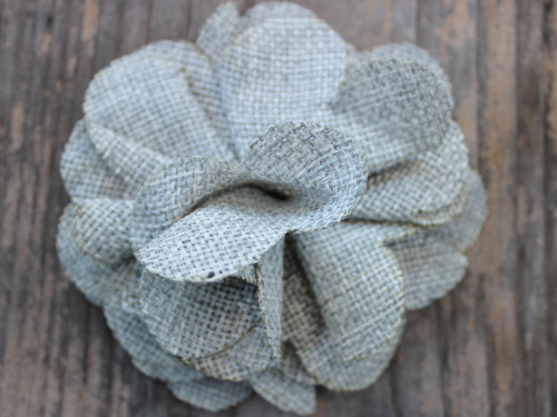 Derby Smoke Grey Linen flower for dog collars by www.diva-dog.com