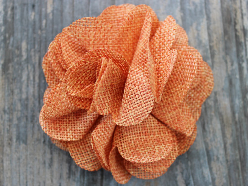 Derby Melon Orange Linen flower for dog collars by www.diva-dog.com