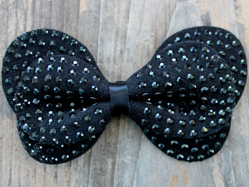 Butterfly studded black bow for dog collars by www.diva-dog.com