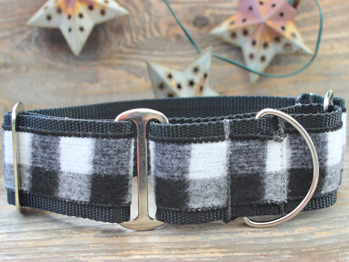 Buffalo Plaid Glacier White martingale collar by www.diva-dog.com