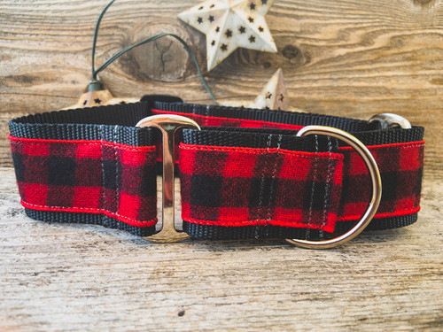Buffalo Plaid Sierra Red martingale collar by www.diva-dog.com