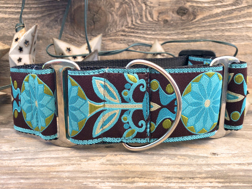 Boho Peacock martingale dog collar - by www.diva-dog.com