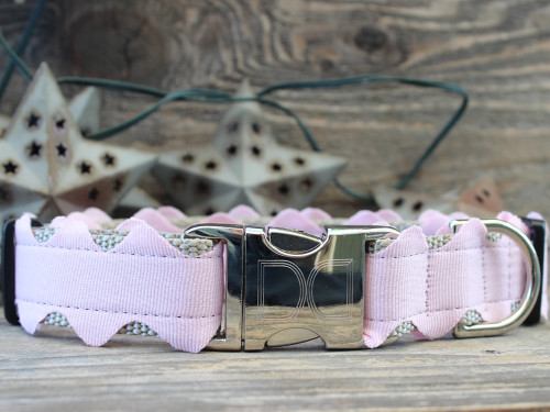 Brick-A-Bark light pink dog collar - by Diva-Dog.com