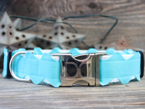 Brick-A-Bark blue dog collar - by Diva-Dog.com