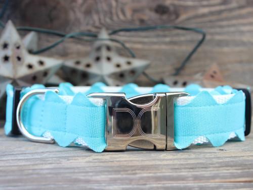 Brick-A-Bark blue dog collar - by Diva-Dog.com