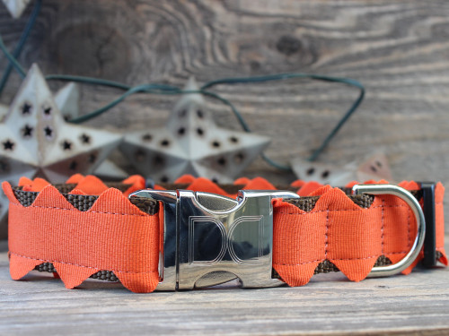 Brick-A-Bark orange dog collar - by Diva-Dog.com